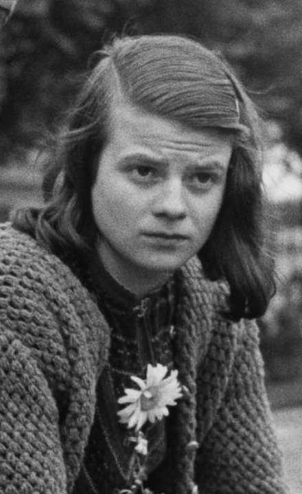 Photograph of Sophie Scholl in 1942 in Germany.
